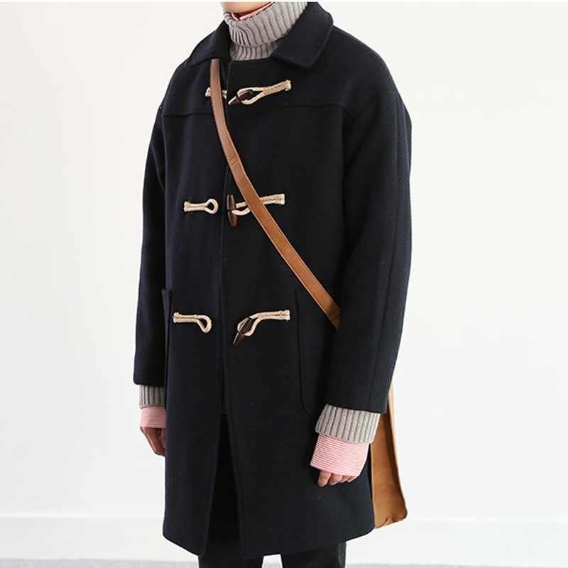 8d16966c8e7 ... New Mens Winter Horn Button Woollen Autumn Men s Overcoat Male Long  Hooded Trench Thick Windbreaker Dust ...