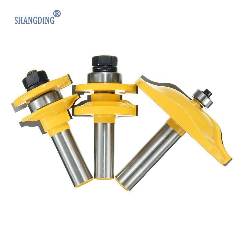 "New 3Pcs Yellow 1/2"" Shank Two Flute Raised Panel Cabinet Door Router Bit Set  Medium Carbon Steel Alloy Durable"