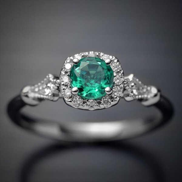 แหวนขนาดใหญ่สีเขียวโอปอลหินโบราณสีเขียว + แหวนเงินผู้หญิง Retro Texture แกะสลัก Love แหวนแหวนหมายเลข 8
