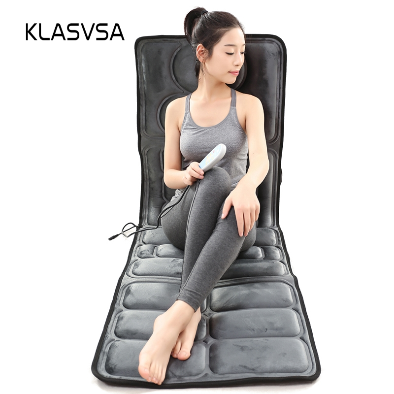 KLASVSA Electric Vibrator Heating Back Neck Massager Mattress Waist Cushion Mat Home Office Relax Bed Pain