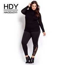 HDY HAODUOYI 2019 Big Size New Fashion Women Basic Solid Casual Slim Pants Lace Patchwork Plus 3XL 4XL 5XL 6XL