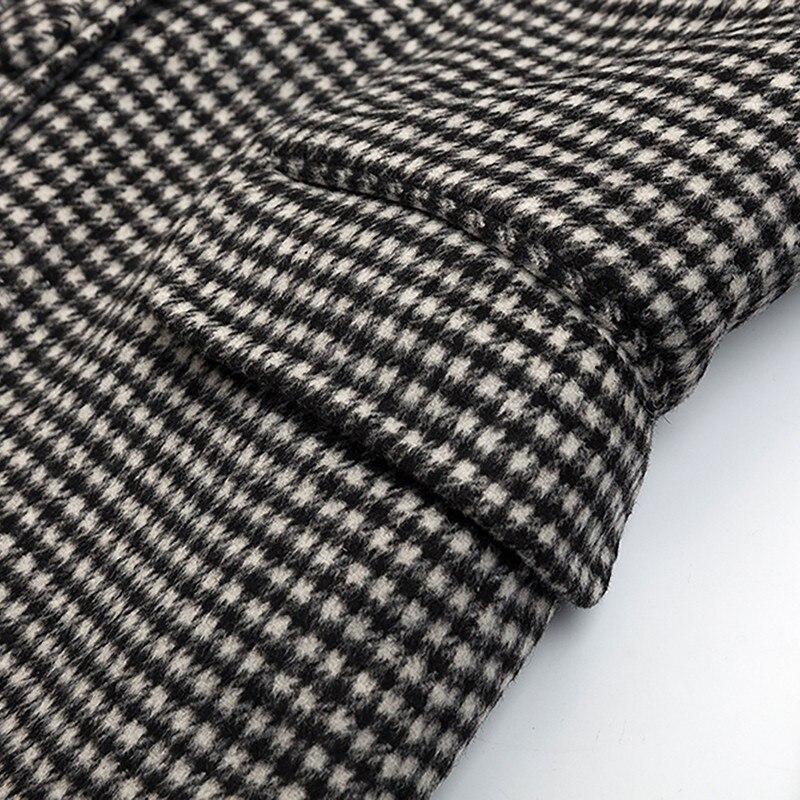 Femme Longues Blazer Manteaux Automne Évider Twotwinstyle Laine De À Femmes Manches Manteau 2018 Vêtements Vintage Plaid Hiver Mode nHFwp