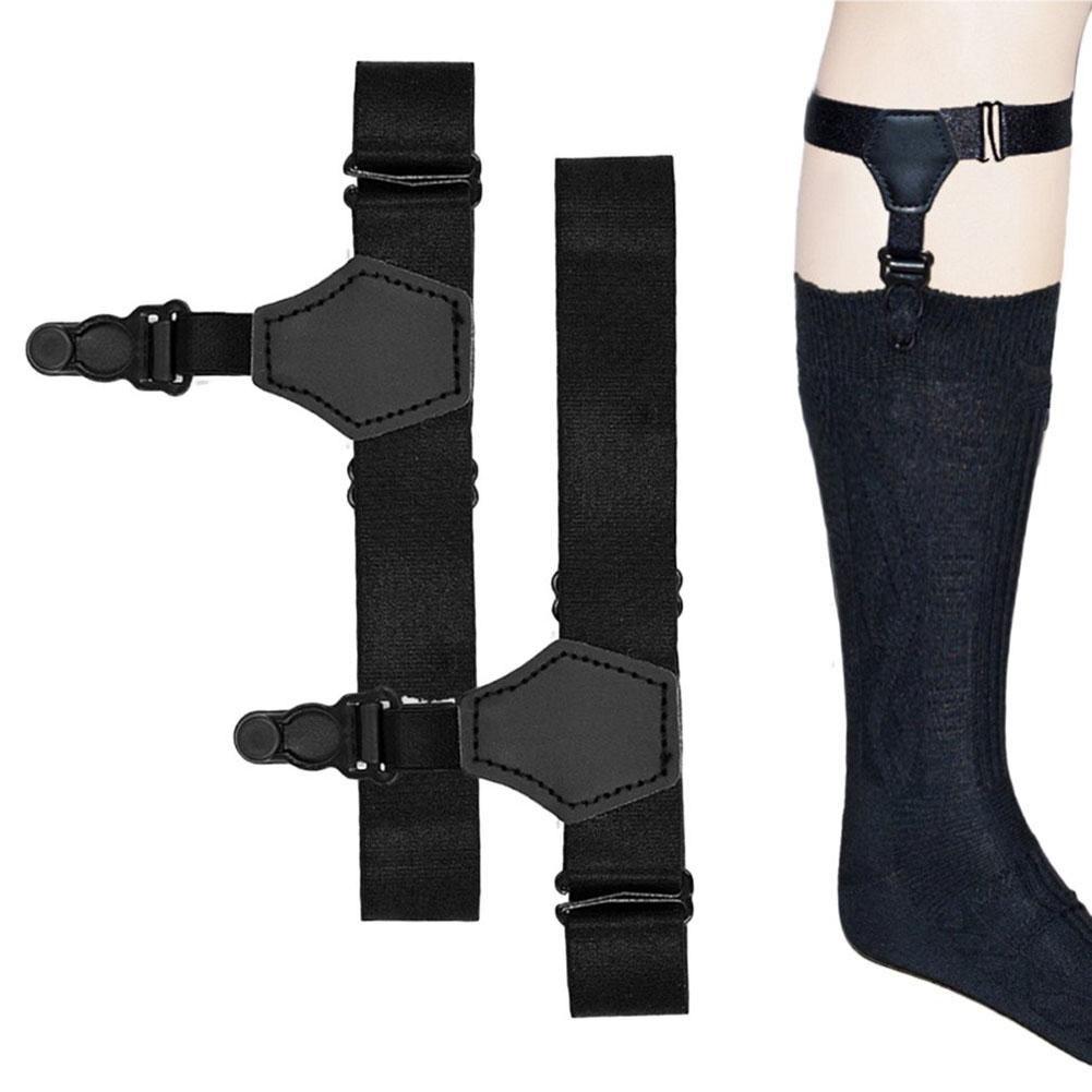 Helisopus 1 Pair Black Suspenders For Men Non-slip Adjustable Garters Polyester Suspender Men Accessories