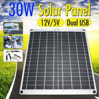 LEORY 30W 12V Portable Solar Panel USB Monocrystalline silicon Solar Panel with Car Charger for Outdoor Camping Emergency Light