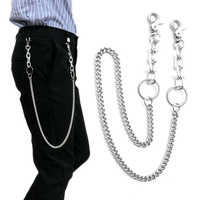 78cm Long Metal Wallet Belt Chain Rock Punk Trousers Hipster Pant Jean Keychain Silver Ring Clip Keyring Men's HipHop Jewelry