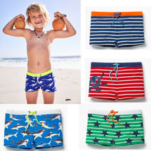 Summer Boys Swimming Trunks Shark Stripe Boxers Swim Shorts Pants Swimwear Kids
