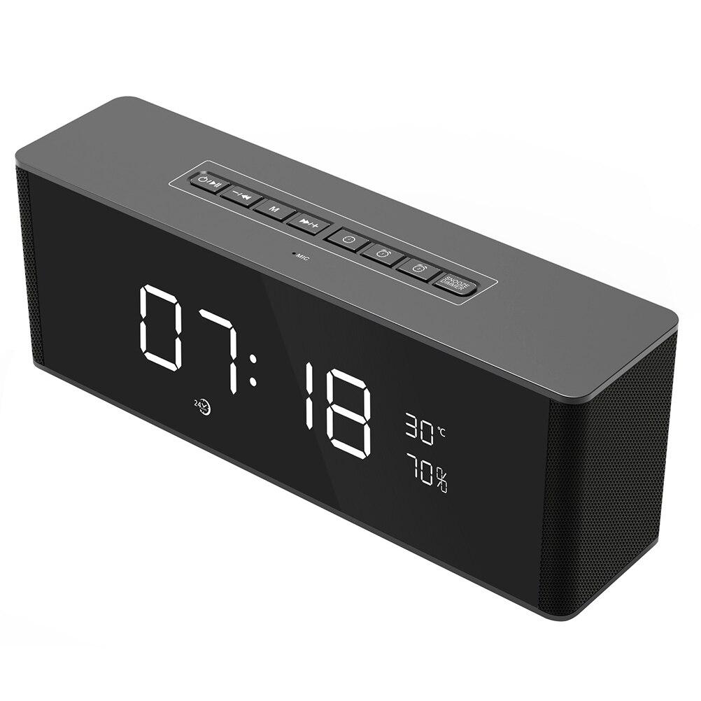 Multifonctionnel Numérique D'alarme Horloge Radio avec Sans Fil Bluetooth Stéréo Haut-parleurs Soutien TF Carte (Noir)