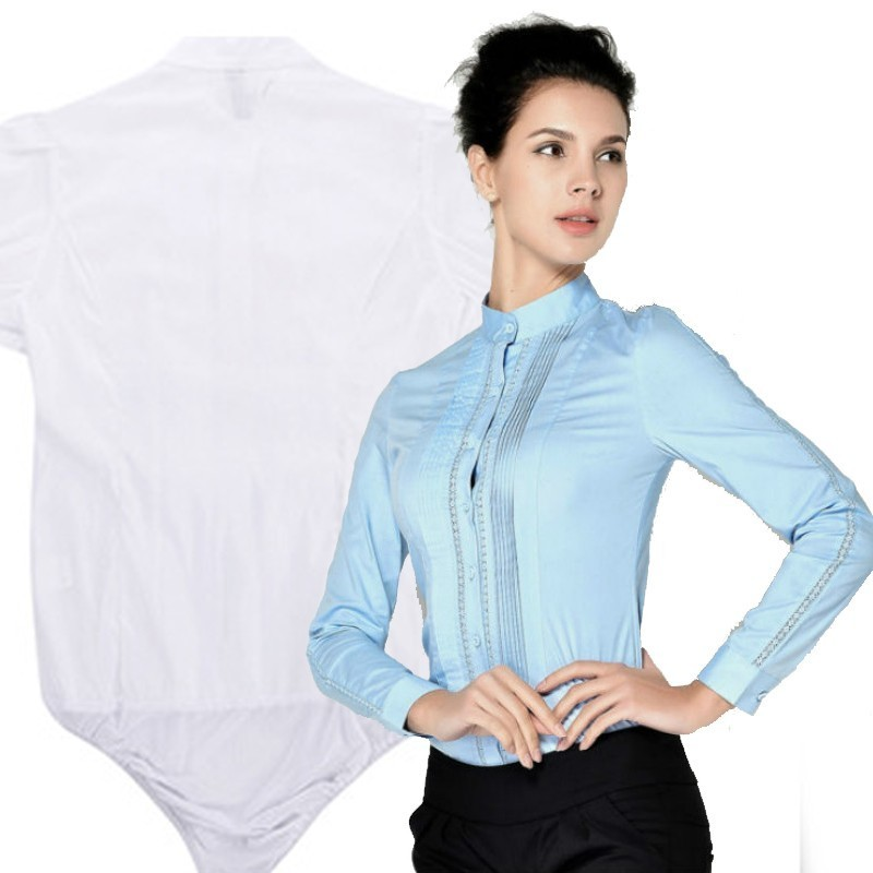 New Fashion Ladies Long Sleeve Body Shirt Women Formal Patchwork White Blouse For Work Wear Female Tops Office Lady