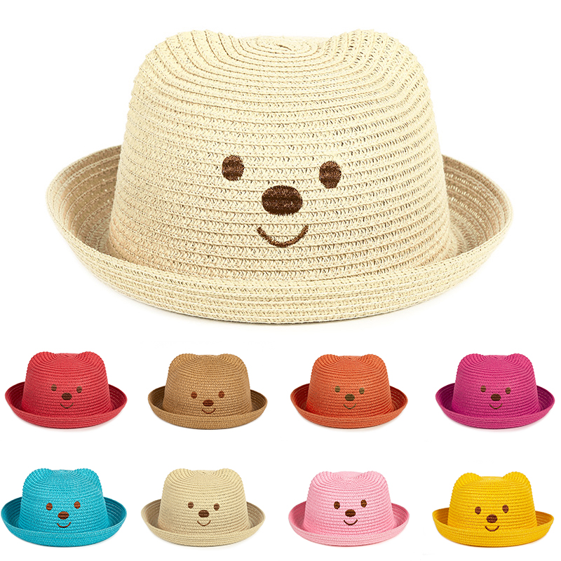 UCQueen Straw Hats for Kids Toddler Kids Girl Multi-Colors Large Brim Flower Breathable Hat Beach Sun Hats