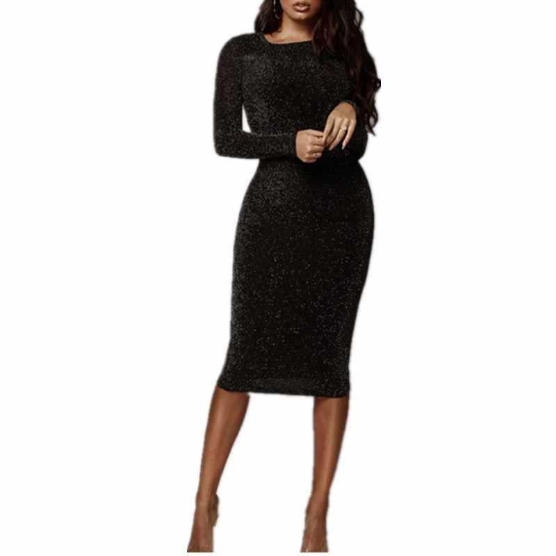 Detail Feedback Questions about Sexy Bodycon Dress Women O Neck Long Sleeve  Bling Sequin Dress Femme Slim Black Short Mini Club Party Dresses Vestidos  on ... 349e3744868c