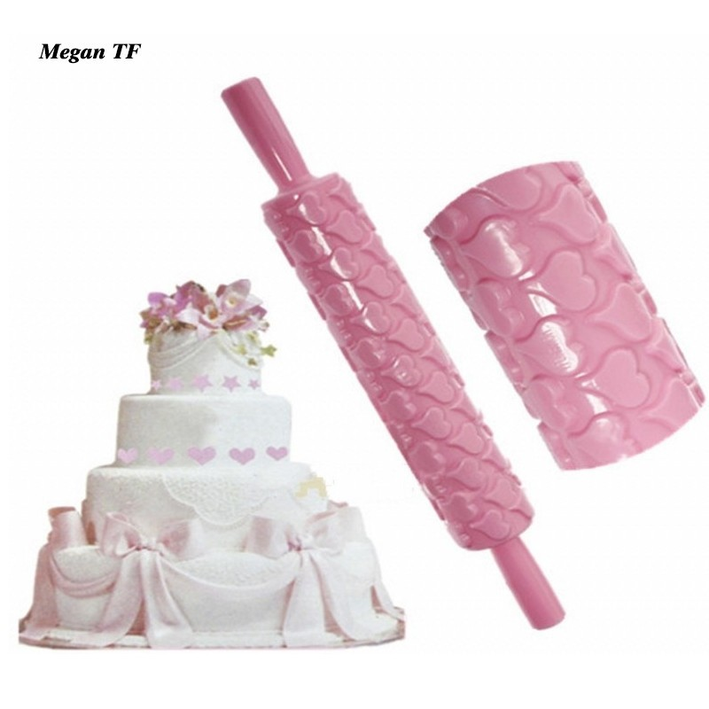 Portable Embossed Rolling Pin Heart Pattern Fondant Pastry Cake Decor Tool N@YL