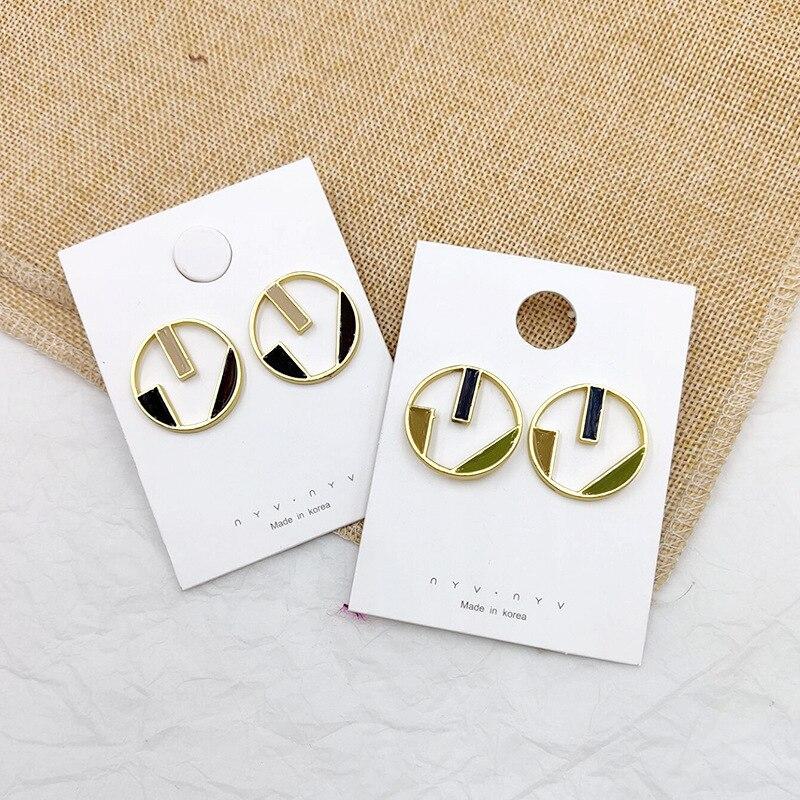 2019 Korea Earrings Drop Glaze Color Matching Geometric Alloy Hollow Round For Women Ear Ring Summer Boho Jewelry