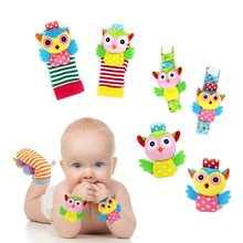 Newborn Plush Sock Baby Toy Soft Wrist Strap Baby Foot Socks Animal Cute Cartoon Baby Rattles Socks Wrist Rattle Foot Sock Set(China)