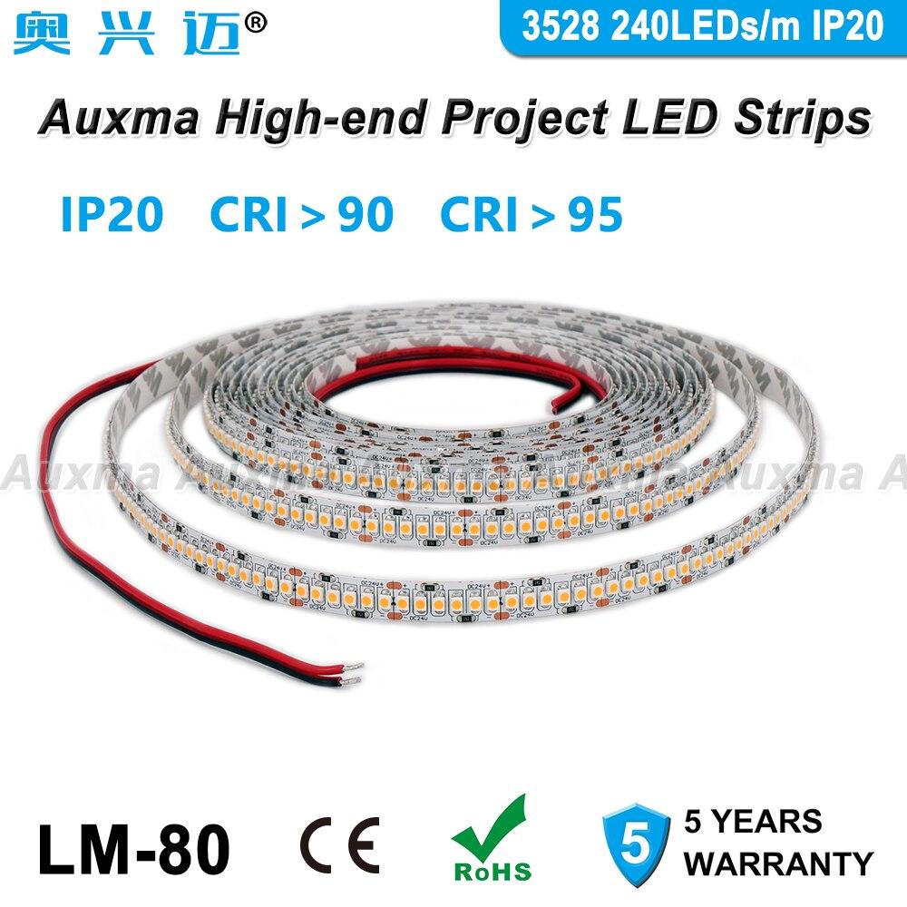 3528 240LEDs/m LED Strip, CRI95 CRI90,PCB Wide 10mm,Single Row,IP20,DC24V 19.2W/m 1200LEDs/Reel,Non-waterproof,for Hotel Lobby