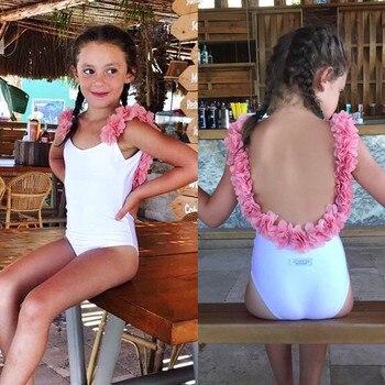 6f46751a6e59 Niño bebé niñas vestido 3D Floral traje de baño de verano Patchwork flores  Correa falda de traje de baño de 2-7 T
