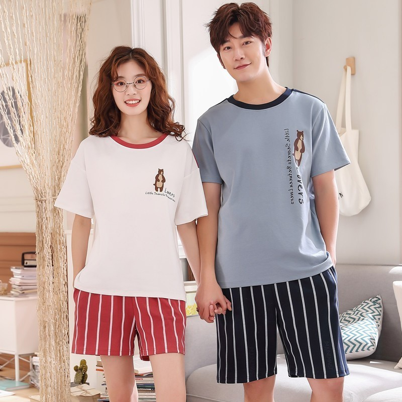 Women Cotton   Pajamas   Short Sleeve Cartoon Sleepwear Pyjamas   Set   Men Pijama Sleep Two Piece   Set   Couple Loungewear Short   Set   3XL