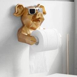 Animal Head Statue Figurine Hanging Tissue Holder Toilet Washroom Wall Home Decor Roll Paper Tissue Box Holder Wall Mount