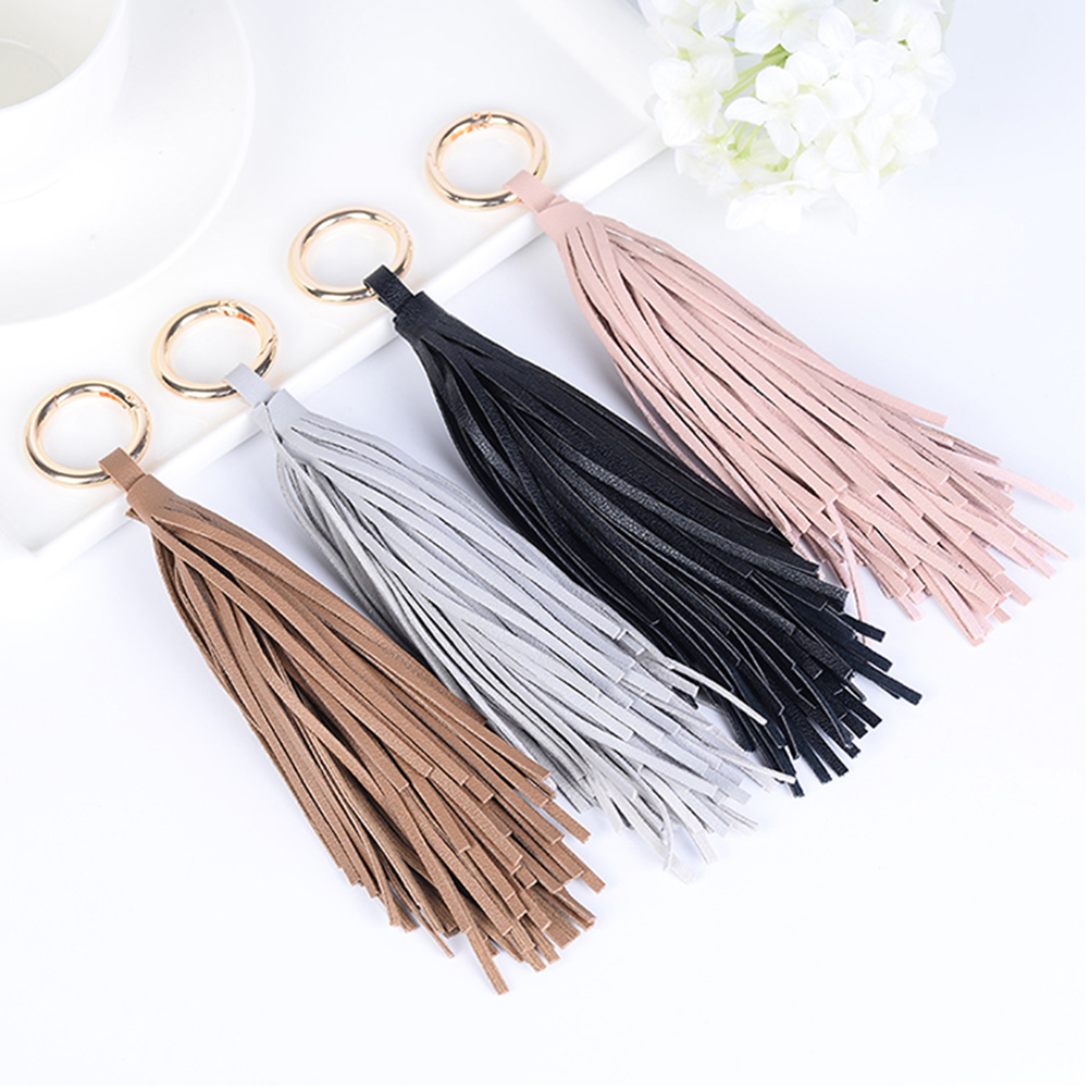 1pc Tassel Keychain Fashion Car Pendant Keychain Women Handbag Key Chain Ring Holder Charm PU Leather Tassels Drop Shipping