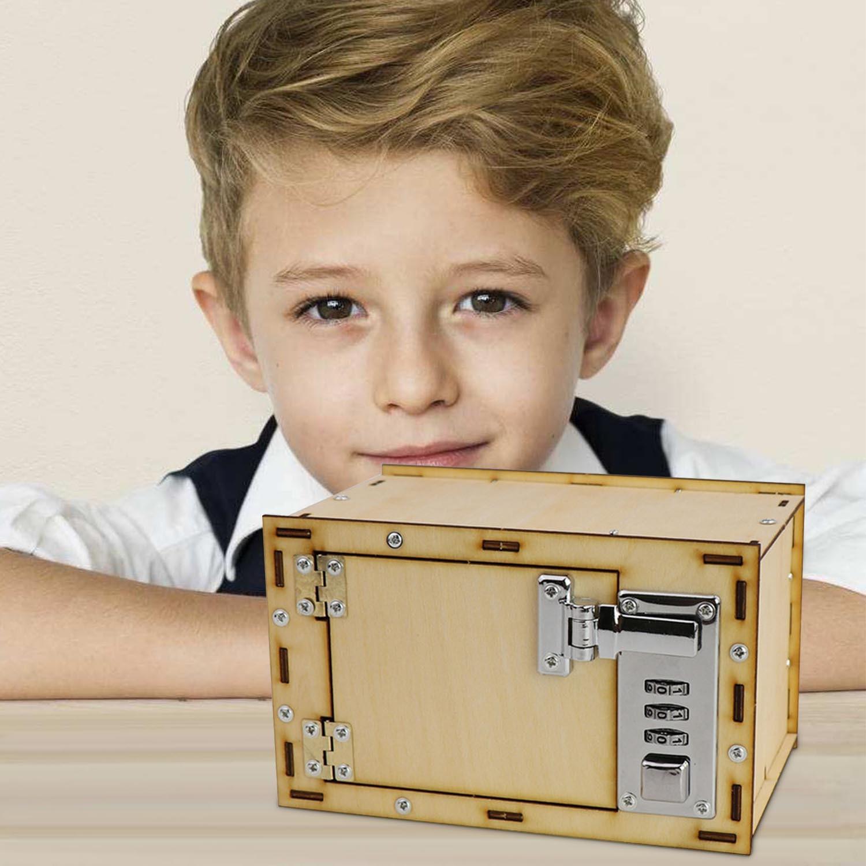 Kids DIY Assembling Wooden Mechanical Password Safe Box Model Piggy Bank Coin Money Saving Box Money & Banking Pretend Play Toy