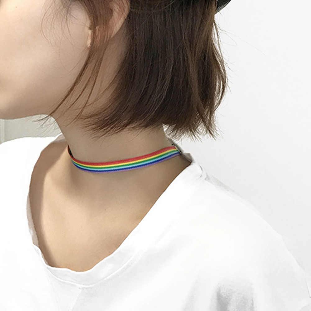 ผู้ชายผู้หญิงเกย์ Pride Rainbow Choker สร้อยคอ LGBT เกย์เลสเบี้ยน Pride ลูกไม้ Choker ริบบิ้นที่มีจี้เครื่องประดับ