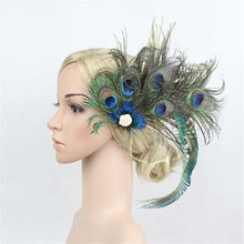 Womens Peacock Feather Headband Wedding Bride Hair Clip Pin Head Hairband Party Headwear Hair Accessories(China)