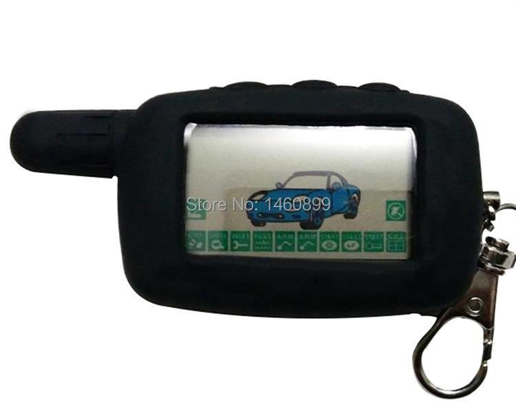 A9 de 2 LCD llave de Control remoto Fob llavero + funda de silicona para dos coche sistema de alarma twage Starline A9 también encaja A6
