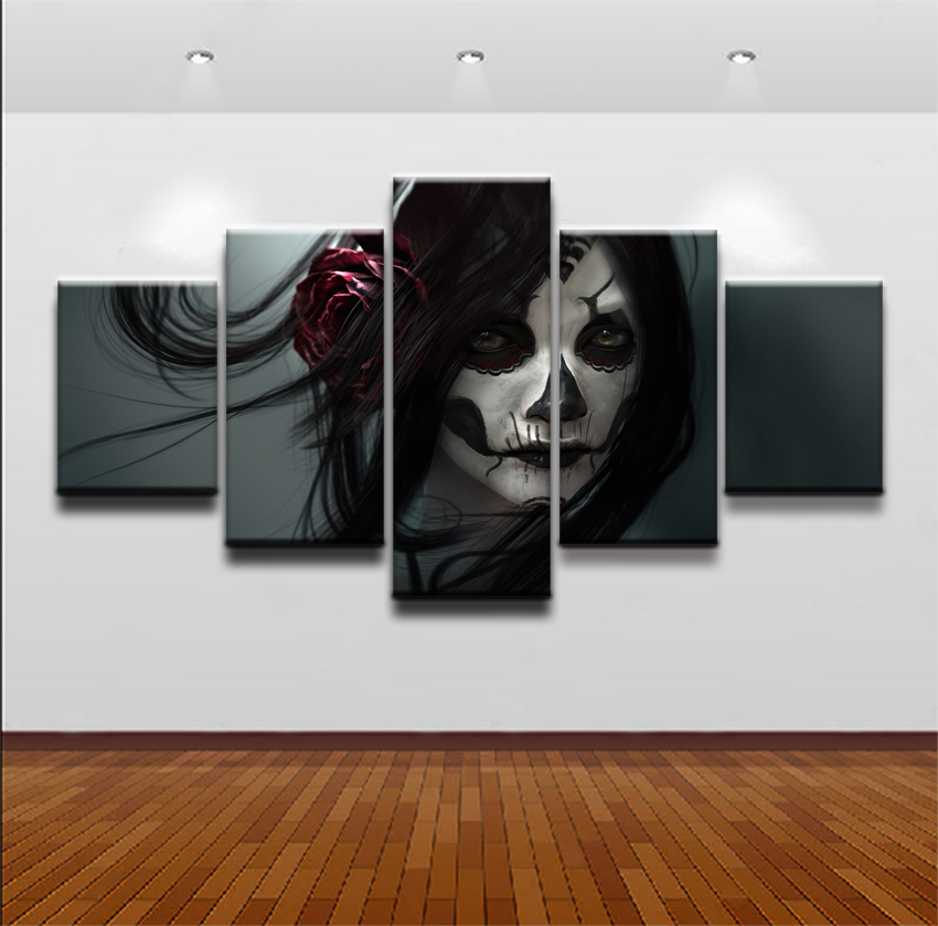 Modular Pictures Canvas Print Decor Living Room Wall Art Poster Framework Home Decorative 5 Pieces Artistic Sugar Skull Painting in Painting Calligraphy from Home Garden