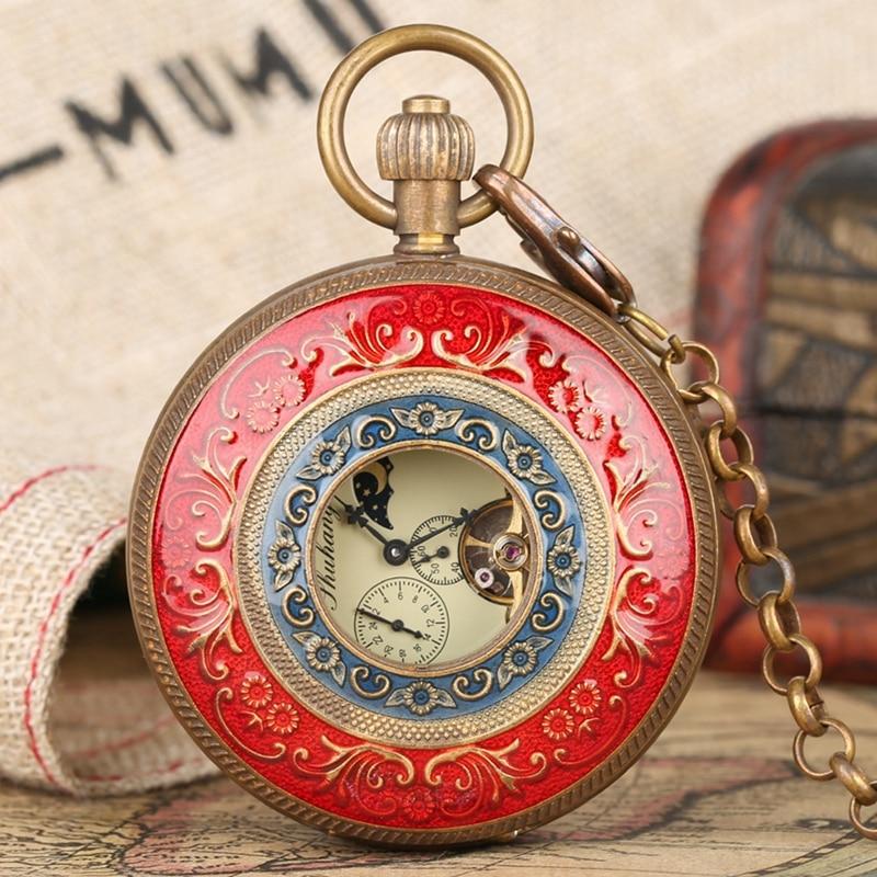 Pur cuivre rouge et bleu couverture rétro grand Tourbillon mécanique montre de poche mode rétro FOB main remontage Double chasseur horloge