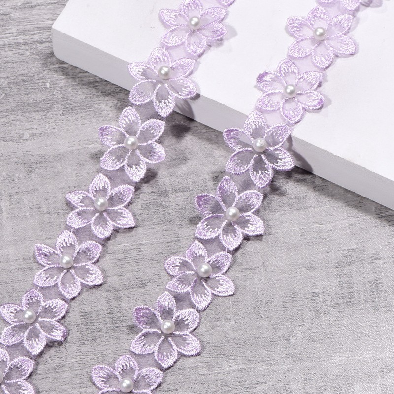 DIY 5 yardas flores bordado punta Trim collar joyas ropa accesorios
