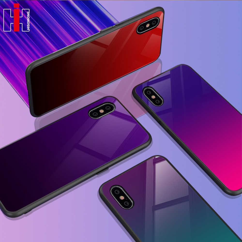 Funda de vidrio gradiente Hisomone para iPhone 7 8 fundas para iPhone Xs Max funda trasera de silicona para iPhone X Xr 6S 6 7 8 Plus