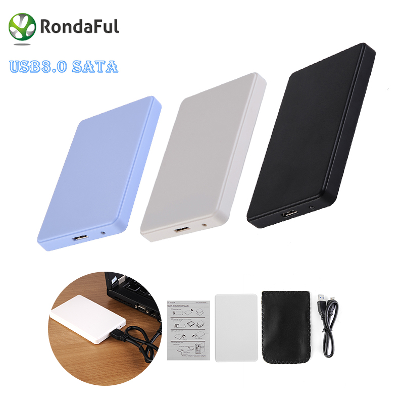 3 Colors 2.5'' USB 2.0 SATA HD Box 1TB HDD Hard Drive External Enclosure Case Support Up to 2TB Data transfer backup tool For PC