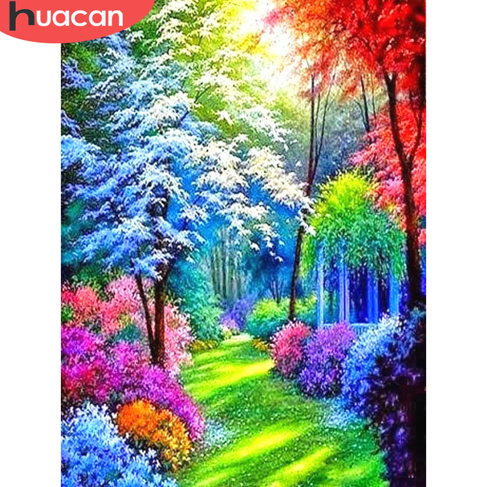 HUACAN 5D DIY Diamond Mosaic Full Square Colorful Tree Diamond Painting Embroidery Sale Rhinestone Picture Home Decor Gift