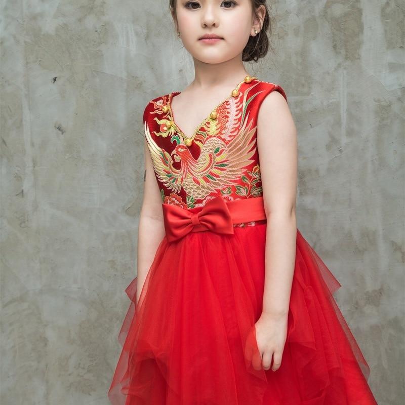Rouge solide traditionnel belle robe de princesse vacances col en V robe de princesse pour enfants Performance robe robe de mariée danse