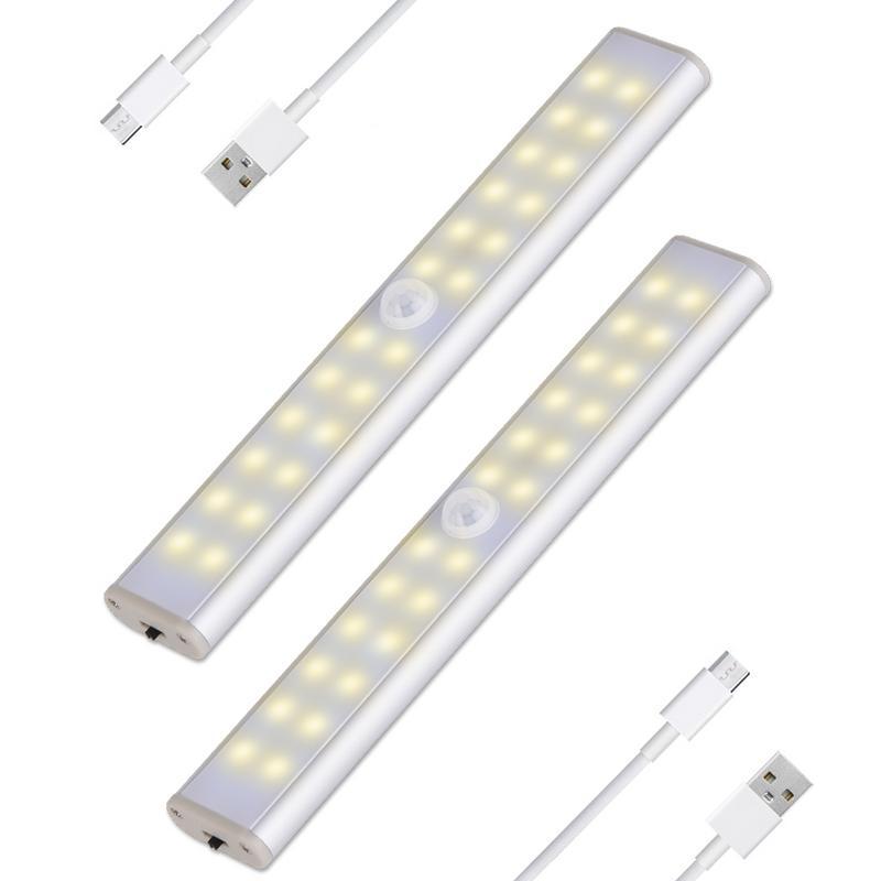 Motion Sensor Nachtlicht 24 40 60 LED Schrank Lichter Batterie Powered Schrank IR Infrarot Motion Detector Wand Lampe USB lade