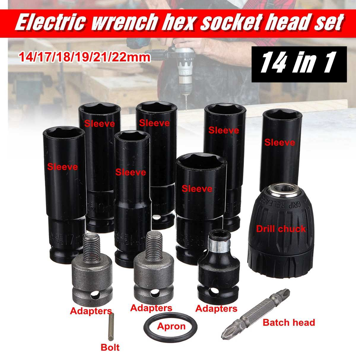 Electric Wrench Screwdriver Hex Socket Head Kits Set For Impact Wrench Drill