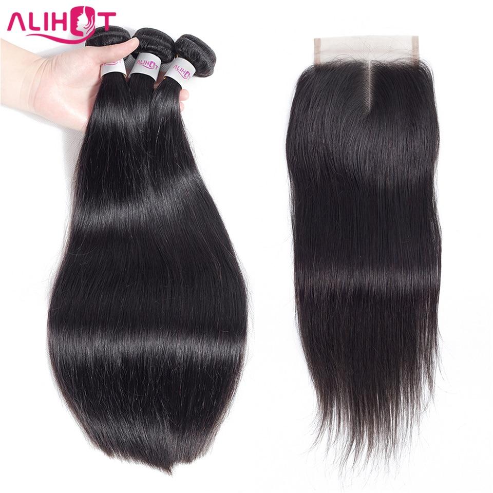 Ali Hot Hair Peruvian Straight Hair 3 Bundles With Closure 100 Human Hair Remy Bundles With