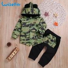 Wisefin ropa de bebé niño de manga larga de otoño niño abrigo de camuflaje  con capucha Tops + Pantalones Bebé de camuflaje traje. 2a2d6f912761