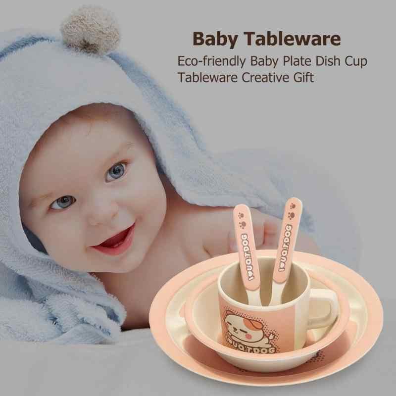 5 Pcs/set Ramah Lingkungan Serat Bambu Bayi Piring Piala Mangkuk Sendok Hidangan 4 Slot Anak-anak Peralatan Makan Set Bayi Anak Hidangan Makan