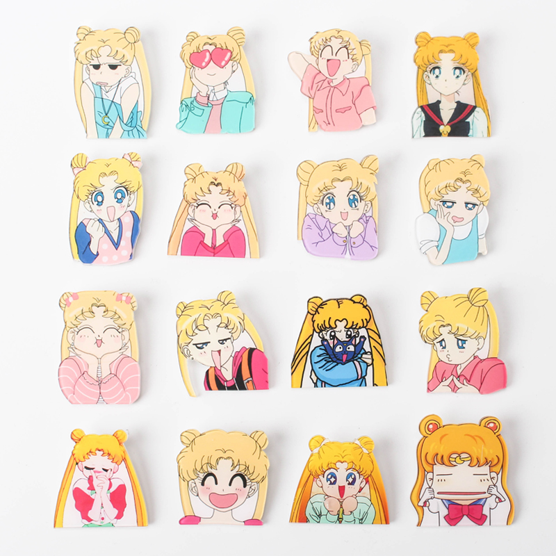 Badges Arts,crafts & Sewing Bright 1pcs Sailor Moon Cartoon Badge Icons On The Pin Acrylic Badges Badges For Clothing Kawaii Brooches Pvc Brooch For Bag Z45 Crazy Price