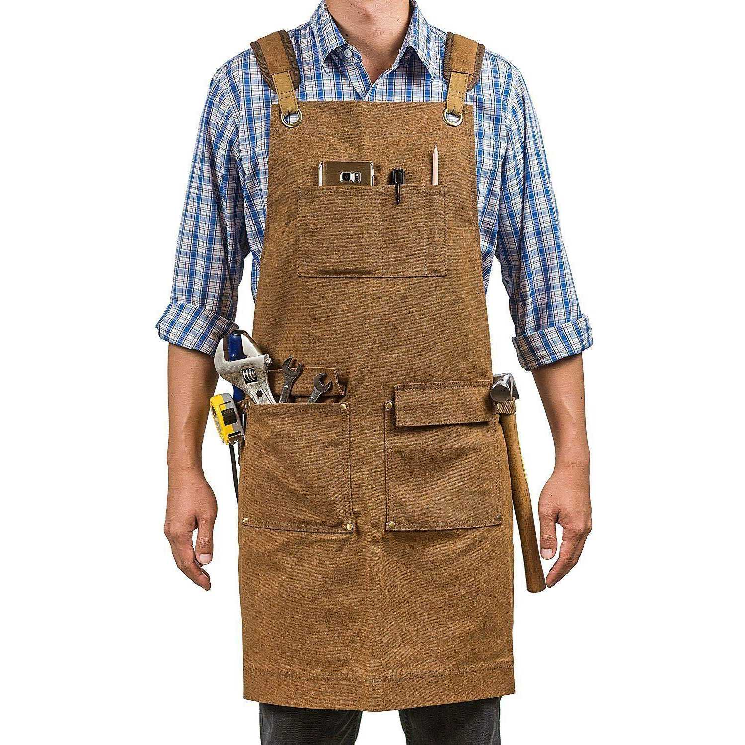Luxury Waxed Canvas Shop Apron | Heavy Duty Work Apron For Men & Women With Pocket & Cross-Back Straps | Adjustable Tool Apron image