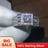 100% Real Soild 925 Sterling silver Fashion Man ring Round 1ct AAAAA Cz birthstones ring Engagement Wedding Band Ring for men