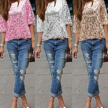 2019 Summer New Womens Fashion Slanted Shoulder Sequins Slim Shirt Casual Tops Blouse