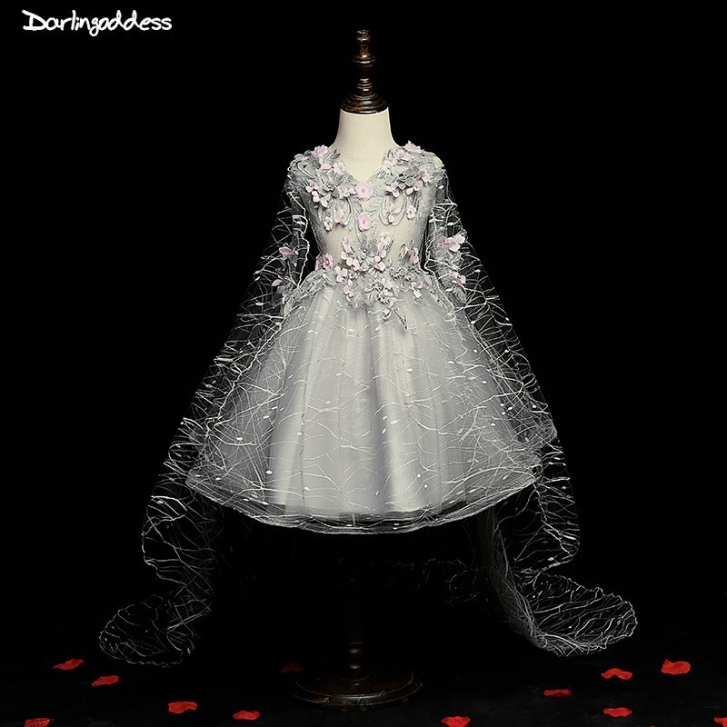 Flower     Girl     Dresses   for Weddings Ball Gown Silver Pageant   Dresses   for   Girls   First Communion   Dresses   2019 Party   Dress   for   Girls