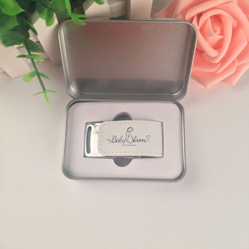 Nuevo logotipo personalizado de cuero blanco USB 3,0 Flash Drive regalo de boda con cajas de Metal