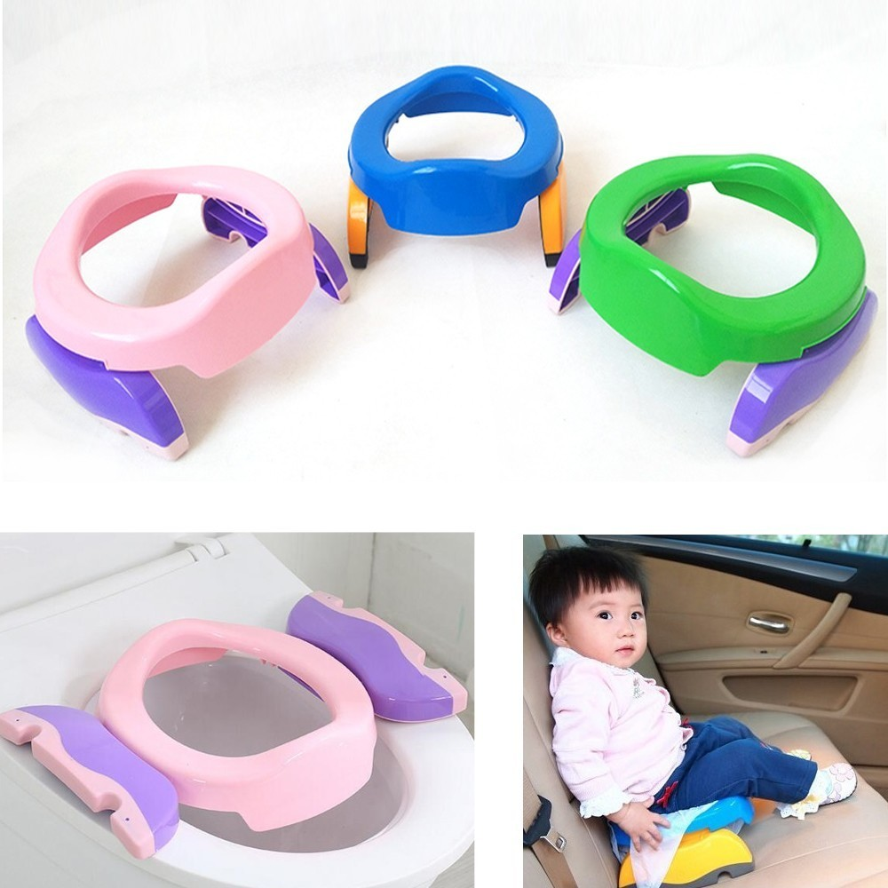 2 In1 Baby Travel Potty Seat Portable Infant Chamber Pots Foldaway Toilet Training Seat Kids Travel Potty Rings With Urine Bag