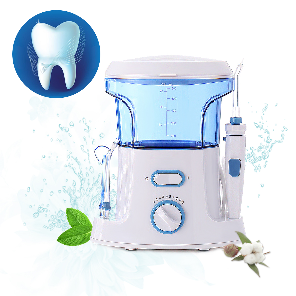 1Pcs 600ml Oral Irrigator Dental Flosser Water Dental Floss Water Irrigator Tooth Pick Dental Water Jet Oral Teeth Care 100pcs water flosser flycat fc168 oral irrigator 600ml tank 8pcs jet tips dental flosser power water jet protable oral deep
