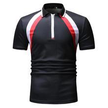 Casual Tees Lapel collar Tops Mens Clothing Camiseta Polo Shirt Men Fashion Black navy Stripe Short sleeve