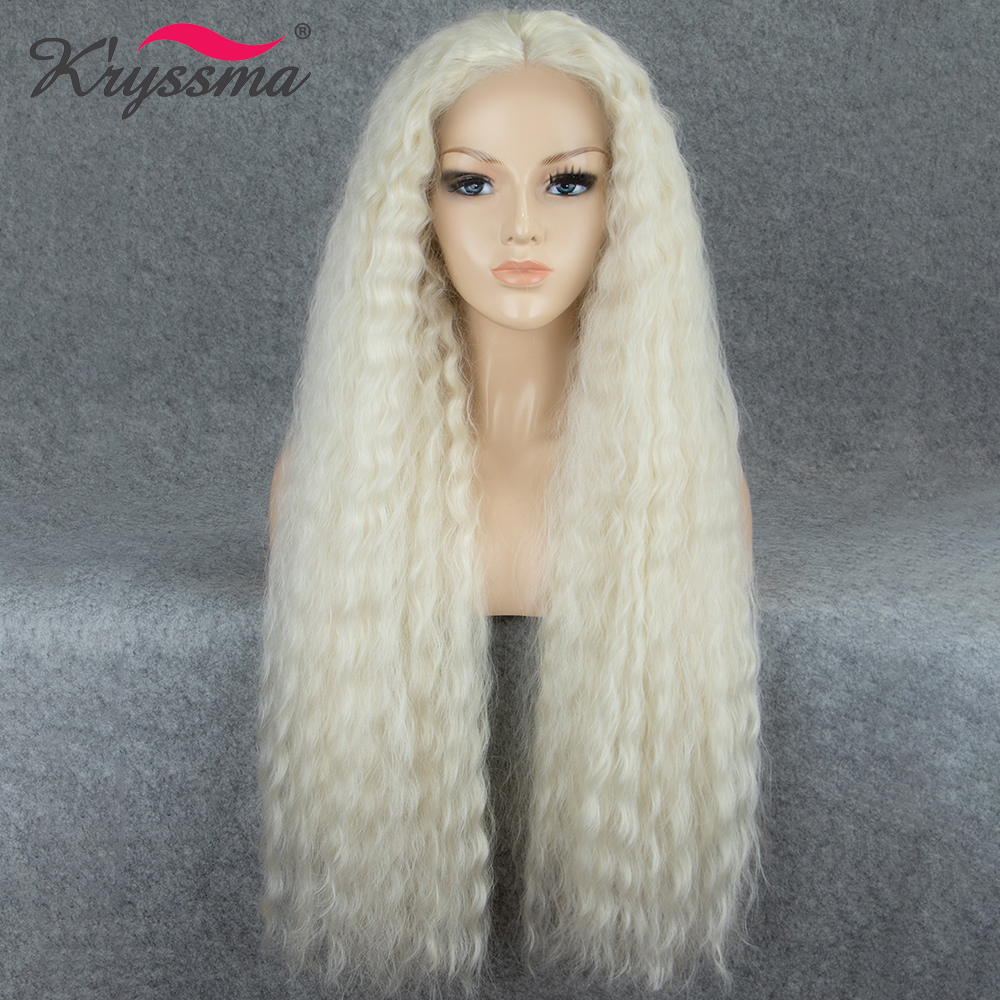 Milky White Synthetic Lace Front Wig Long Loose Wave Wigs for Women Light Blonde Wig Middle Part 26 Inches Heat Resistant Fiber