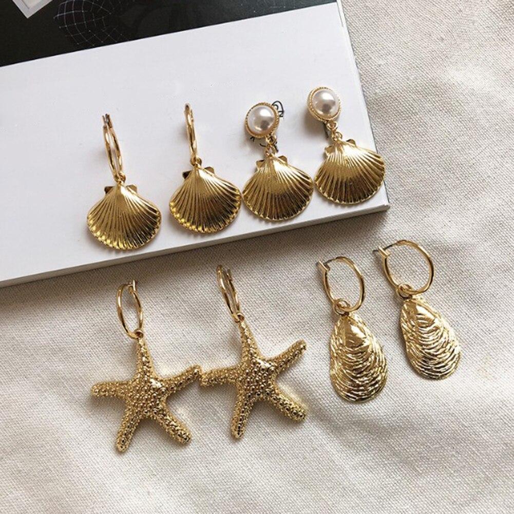 Gift Jewelry Shell Long Conch Drop Dangle Cowrie Drop Earrings Stud Earrings