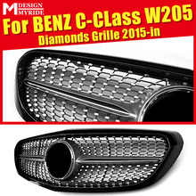 For W205 Diamond Front Grille Without emblem C180 C200 C250 C350 C400 C63AMG ABS Silver Non Sports 2015-in